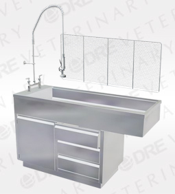 DRE All Stainless Steel Cabinet Style Wet Table with Knee Space (one door, three drawers)