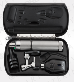 Standard Ophthalmoscope, Operating Otoscope, Rechargeable Nickel-Cadmium Handle, Hard Case