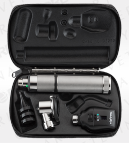 Coaxial Ophthalmoscope, Pneumatic Otoscope, Rechargeable Nickel-Cadmium Handle, Hard Case