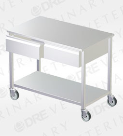 DRE Stainless Steel Mobile Exam Table with Drawers and Undershelf