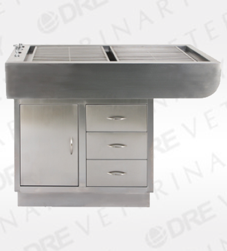 "48"" Stainless Steel Preparation Table with Tub and Cabinets"