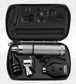 Standard Ophthalmoscope, Pneumatic Otoscope, Rechargeable Nickel Handle, Hard Case
