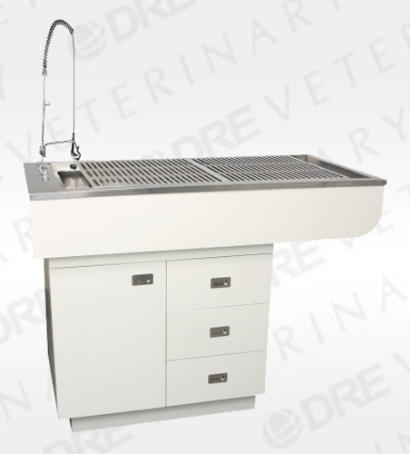 "60"" Preparation Table with Stainless Steel Tub and Cabinets"