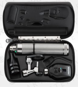 Coaxial Ophthalmoscope, Operating Otoscope, Rechargeable Nickel-Cadmium Handle, Hard Case