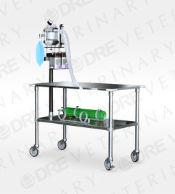 "Stainless Steel Gurney with Anesthesia Machine - 54"" x 26"" x 36"""