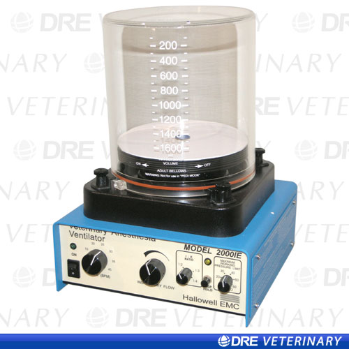 Hallowell 2000 Anesthesia Ventilator with Adjustable I:E: 1600-3000ml includes bellows and housing