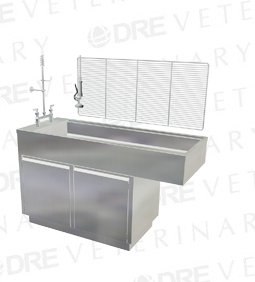 DRE All Stainless Steel Cabinet Style Wet Table with Knee Space (two doors, no drawers)